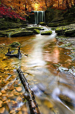 Creek Photograph - Autumnal Waterfall by Meirion Matthias