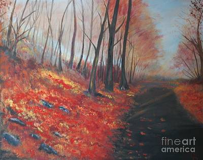 Painting - Autumns Pathway by Leslie Allen