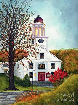 Painting - Autumn's Romance - Little Country Church Unionville Ny by Janine Riley