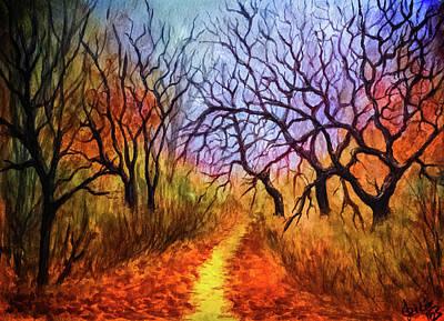 Autumn Landscape Mixed Media - Autumn's Secret Path by Lilia D