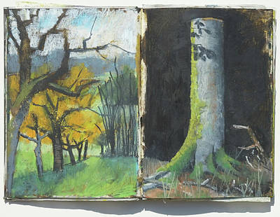 Painting - Autumns Trees And Trunk Of Beech Tree,plein Air Oil Psatel Double Sketchbook Page by Martin Stankewitz