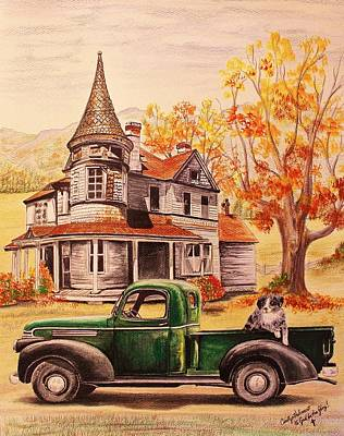 Abandoned House Drawing - Autumn's Whispered Memories by Carolyn Valcourt