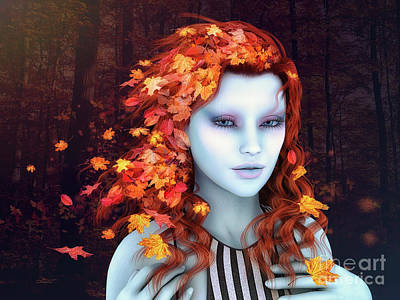 Maple Leaf Art Digital Art - Autunm Hair by Jutta Maria Pusl