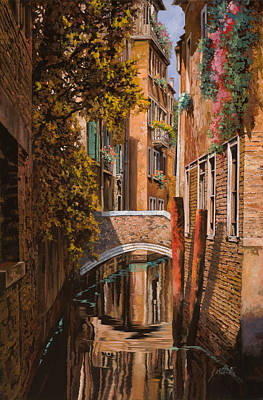 Sunset Painting - autunno a Venezia by Guido Borelli