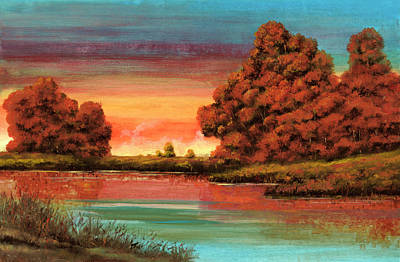 Red Tree Painting - Autunno Di Fuoco by Guido Borelli