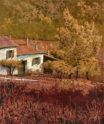 Curated Round Beach Towels - Autunno Rosso by Guido Borelli