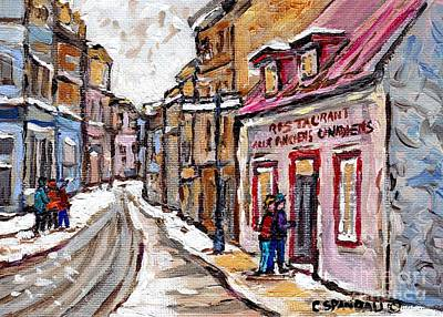 Painting - Aux Anciens Canadiens Resto Winter Paintings Best Authentic Original Quebec Art Carole Spandau by Carole Spandau