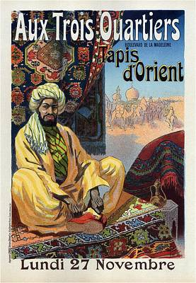 Mixed Media - Aux Trois Quartiers - Oriental Carpet - French Vintage Advertising Poster by Studio Grafiikka