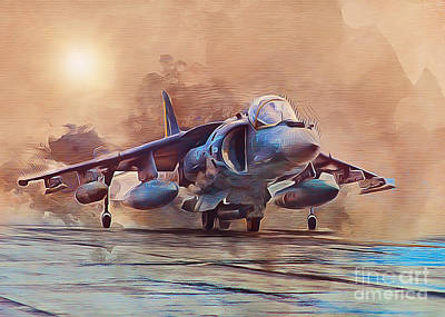 Jet Mixed Media - Av-8b Harrier by Ian Mitchell