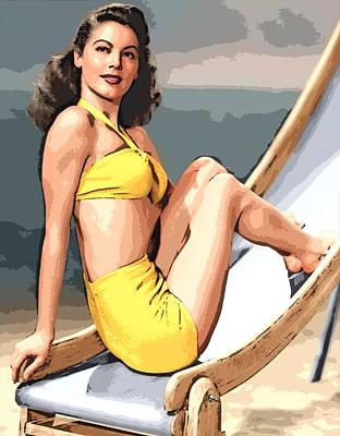 Digital Art - Ava Gardner Yellow Swimsuit by Joy McKenzie