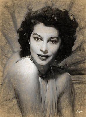 Ava Gardner Pen Portrait Art Print by Quim Abella