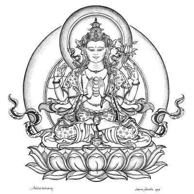 Buddha Drawing - Avalokiteshvara -chenrezig by Carmen Mensink