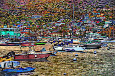 Avalon Harbor Sunset Print by Norma Warden