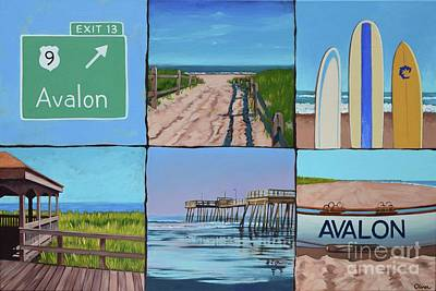 Sand Fences Painting - Avalon Montage  by Elisabeth Olver