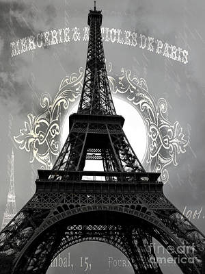 Photograph - Avant Garde Eiffel Tower Black And White Decor - Paris Black White Eiffel Tower French Script  by Kathy Fornal