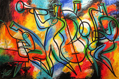 Trumpet Painting - Avant-garde Jazz by Leon Zernitsky