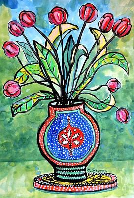 Avant Garde Vase With Tulips Art Print by Caroline Street