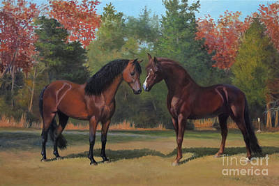 Morgan Horse Painting - Avatar And Anthem by Jeanne Newton Schoborg