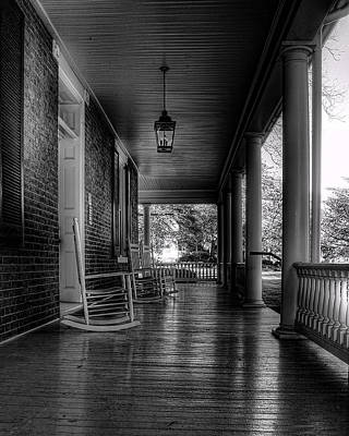 Rocking Chairs Photograph - Avenel Front Porch - Bw by Steve Hurt