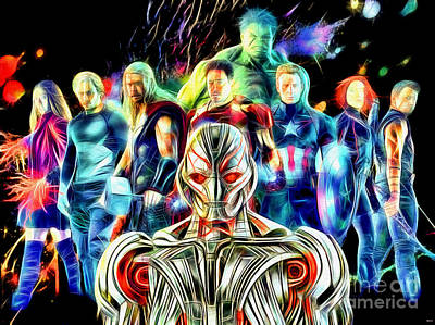 Avengers Age Of Ultron In Color Art Print