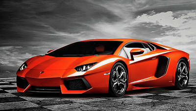 Bull Digital Art - Aventador by Peter Chilelli