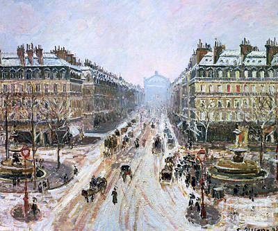 Avenue De L'opera - Effect Of Snow Art Print by Camille Pissarro