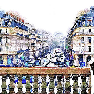 Watercolor Painting - Avenue De L'opera Moderne  by D Renee Wilson