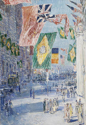 Raising Painting - Avenue Of The Allies  Brazil  Belgium by Childe Hassam