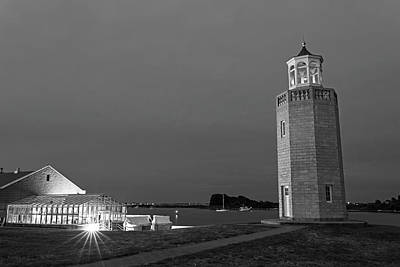 Photograph - Avery Point Lighthouse Groton Ct Connecticut Black And White by Toby McGuire