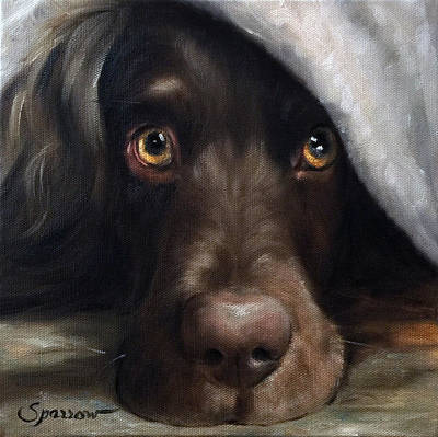 Retriever Painting - Avery Under Cover by Mary Sparrow