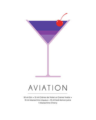 Cocktails Mixed Media - Aviation Classic Cocktail Minimalist Print by Studio Grafiikka