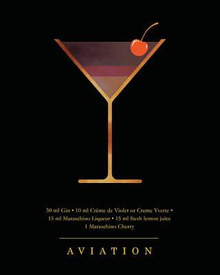 Digital Art - Aviation Cocktail - Classic Cocktails Series - Black and Gold - Modern, Minimal Decor by Studio Grafiikka
