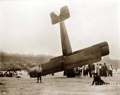 Photograph - Aviator Buck Weaver's Airplane Crash Circa 1919 by California Views Archives Mr Pat Hathaway Archives