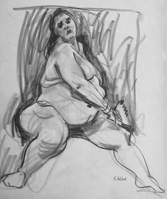 Drawing - Aviva Twisting by Robert Holden