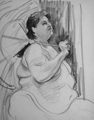 Drawing - Aviva With Umbrella by Robert Holden