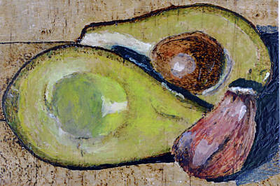 Painting - Avocado And Garlic by Zilpa Van der Gragt