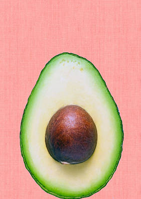 Avocado And Pink Art Print by Vitor Costa