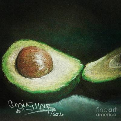 Still Life Drawings - Avocado by Angie Sellars
