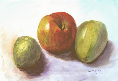 Painting - Avocado Apple And Pear by Laurie Morgan