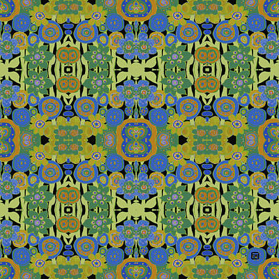Avocado Blue Pattern Art Print