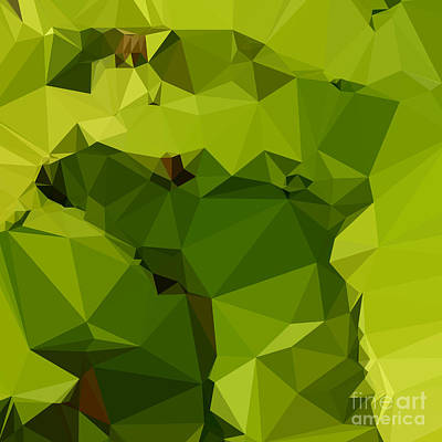 Avocado Green Abstract Low Polygon Background Art Print