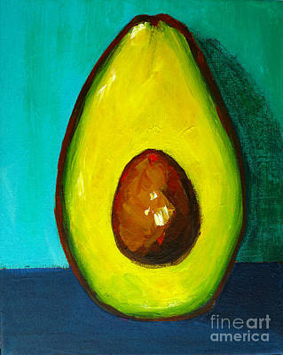 Painting - Avocado Modern Art, Kitchen Decor, Aqua Background by Patricia Awapara