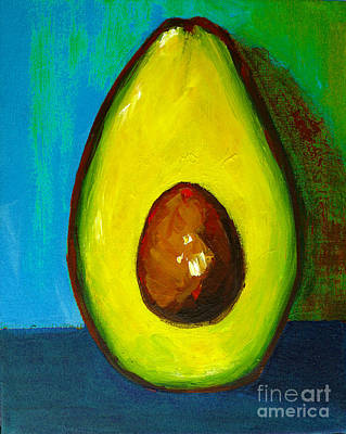 Painting - Avocado, Modern Art, Kitchen Decor, Blue Green Background by Patricia Awapara