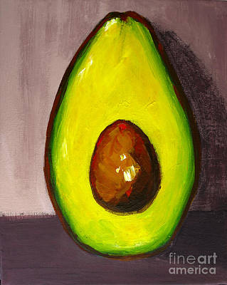 Painting - Avocado Modern Art, Kitchen Decor, Grey Background by Patricia Awapara
