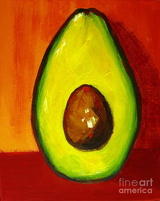 Painting - Avocado Modern Art, Kitchen Decor, Orange And Red Background by Patricia Awapara