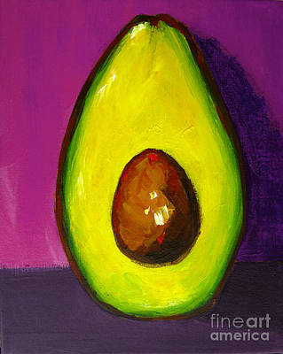 Painting - Avocado Modern Art, Kitchen Decor, Purple Background by Patricia Awapara