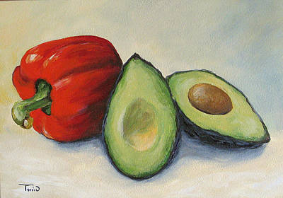 Avocado With Bell Pepper Art Print