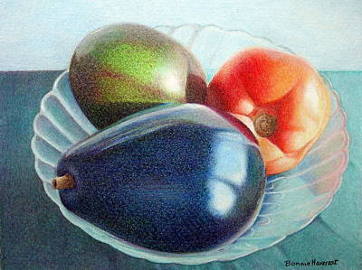 Avocados And A Tomato Art Print by Bonnie Haversat