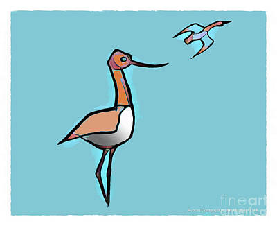 Digital Art - Avocet Composition 3 by Art MacKay