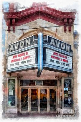 Art Print featuring the painting Avon Cinema Theater East Providence Rhode Island by Edward Fielding